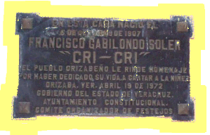 Placa en Honor a Cricri Abril 19 de 1972